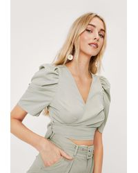 Nasty Gal - Puff Sleeve Wrap Cropped Blouse - Lyst