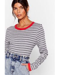 """Nasty Gal """"we're Doin' Just Line Striped Ringer Top"""" - Gray"""