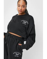 Nasty Gal Plus Size Active Society Embroidered Sweatshirt - Black