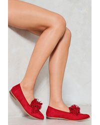 Nasty Gal Pity Party Fringe Loafer - Red