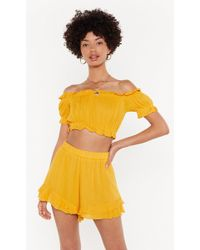 "Nasty Gal ""time For The Frill Crop Top And Shorts Set"" - Yellow"