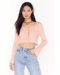 Nasty Gal Don't Crop Believing Ribbed Button-down Cardigan - Pink