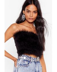 Nasty Gal Fly Away Feather Bandeau Top - Black