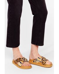 Nasty Gal Welcome To The Wild Side Animal Faux Ponyskin Sliders - Multicolour