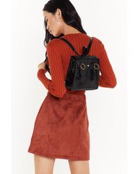 """Nasty Gal """"want Around The Croc Faux Leather Backpack"""" - Black"""