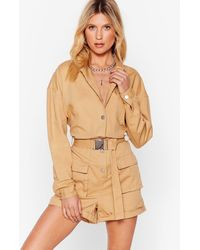 Nasty Gal Pull Yourself Together Denim Belted Playsuit - Natural