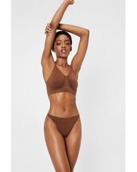 Nasty Gal Seamless Talk Ribbed Ruched Bralette - Brown