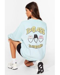 Nasty Gal Badass Babes Club Relaxed Graphic Sweatshirt - Blue