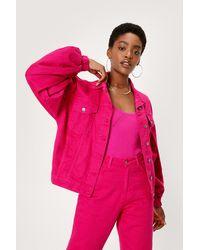 Nasty Gal Volume Sleeve Relaxed Denim Jacket - Pink
