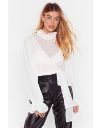 Nasty Gal Tie Again Later Ruffle High Neck Blouse - White