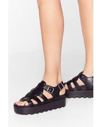 """Nasty Gal """"strapped In Faux Leather Cleated Sandals"""" - Black"""