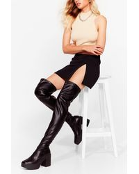 Nasty Gal Thigh's The Limit Over-the-knee Heeled Boots - Black