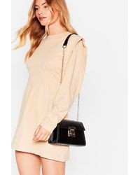 Nasty Gal Faux Leather Structured Crossbody Bag - Black
