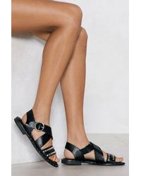 Nasty Gal - Being A Stud Faux Leather Sandal - Lyst