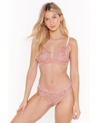 "Nasty Gal ""bad Lace Of Loving You Bralette And Pantys Set"" - Pink"