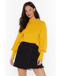 Nasty Gal We're Warming You Ribbed Knit Sweater - Yellow