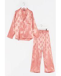 Nasty Gal Flower Time To Shine Satin Plus Pyjama Trousers Set - Pink