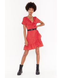"Nasty Gal ""it's Dot Me Wrap Mini Dress"" - Red"