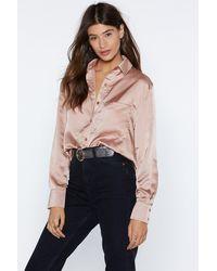 Nasty Gal - Silky Button Down Satin Shirt - Lyst