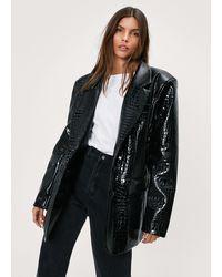 Nasty Gal Faux Leather Croc Embossed Oversized Blazer - Black