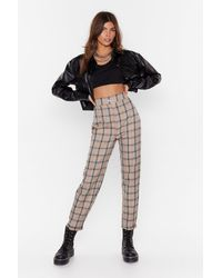"Nasty Gal ""high-waisted Check Tapered Trousers With Zip Fly Closure"" - Natural"