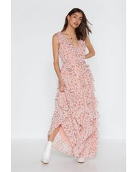 "Nasty Gal ""grow The Distance Floral Ruffle Dress"" - Pink"