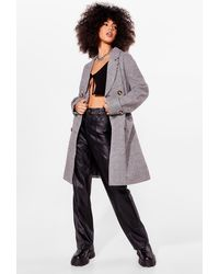 Nasty Gal Check Double Breasted Trench Coat - Gray