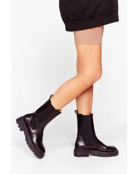 Nasty Gal - Round Toe Cleated Chelsea Boots - Lyst