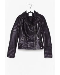 Nasty Gal Leather And Lace Faux Leather Biker Jacket - Black