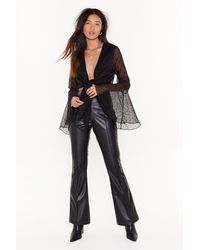 """Nasty Gal """"changes Like The Faux Leather High-waisted Flared Pants"""" - Black"""