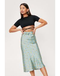 Nasty Gal Floral Print Satin Bias Cut Midi Skirt - Multicolour
