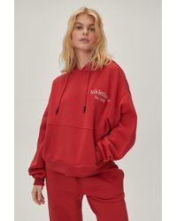 Nasty Gal Petite Athleisure Oversized Emb Hoodie - Red