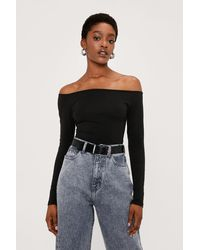Nasty Gal Off The Shoulder Fitted Long Sleeve Top - Black