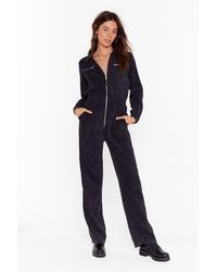 """Nasty Gal """"cord Out Relaxed Corduroy Boilersuit"""" - Black"""