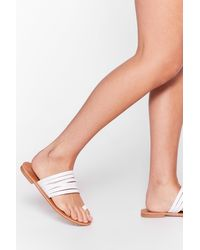 Nasty Gal So Meant Toe Be Wide Fit Sandals - White