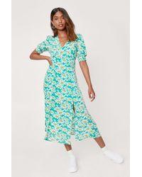 Nasty Gal - Daisy Print Puff Sleeve Midi Dress - Lyst