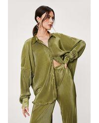 Nasty Gal Plisse Oversized Button Down Shirt - Green