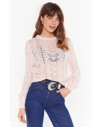 Nasty Gal You've Got A Pointelle Relaxed Sweater - Pink