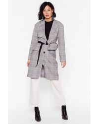 "Nasty Gal ""check My Style Longline Blazer And Fanny Pack Set"" - Gray"