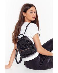 "Nasty Gal ""pu Croc Gold Zip Backpack"" - Black"