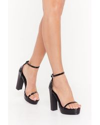 Nasty Gal Trouserent Pu Skinny Strap Platform 2 Parts - Black