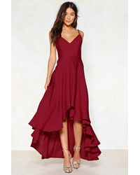 "Nasty Gal ""red V-neckline Lace-up Maxi Red Dress"""