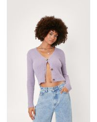Nasty Gal Fluffy Knit Button Up Cardigan - Purple