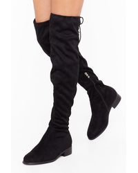 Nasty Gal Give It All You've Got Wide Fit Thigh-high Boot - Black
