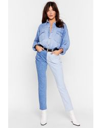 Nasty Gal Best Of Both Worlds Two-tone Mom Jeans - Blue