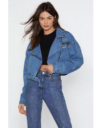 "Nasty Gal ""nice Ride Denim Moto Jacket"" - Blue"