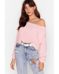 Nasty Gal Something's Off-the-shoulder Knitted Sweater - Pink