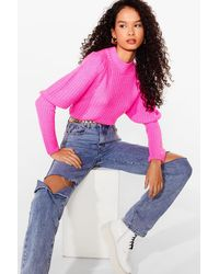 Nasty Gal Layer Some Ground Rules Puff Sleeve Knit Jumper - Pink