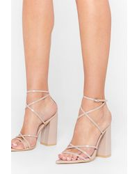 Nasty Gal Prove Your Point Strappy Block Heels - Natural