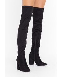 """Nasty Gal """"no Point Arguing Over-the-knee Boots"""" - Black"""